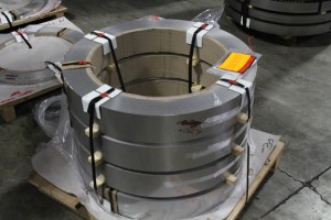 A skid of steel coils.